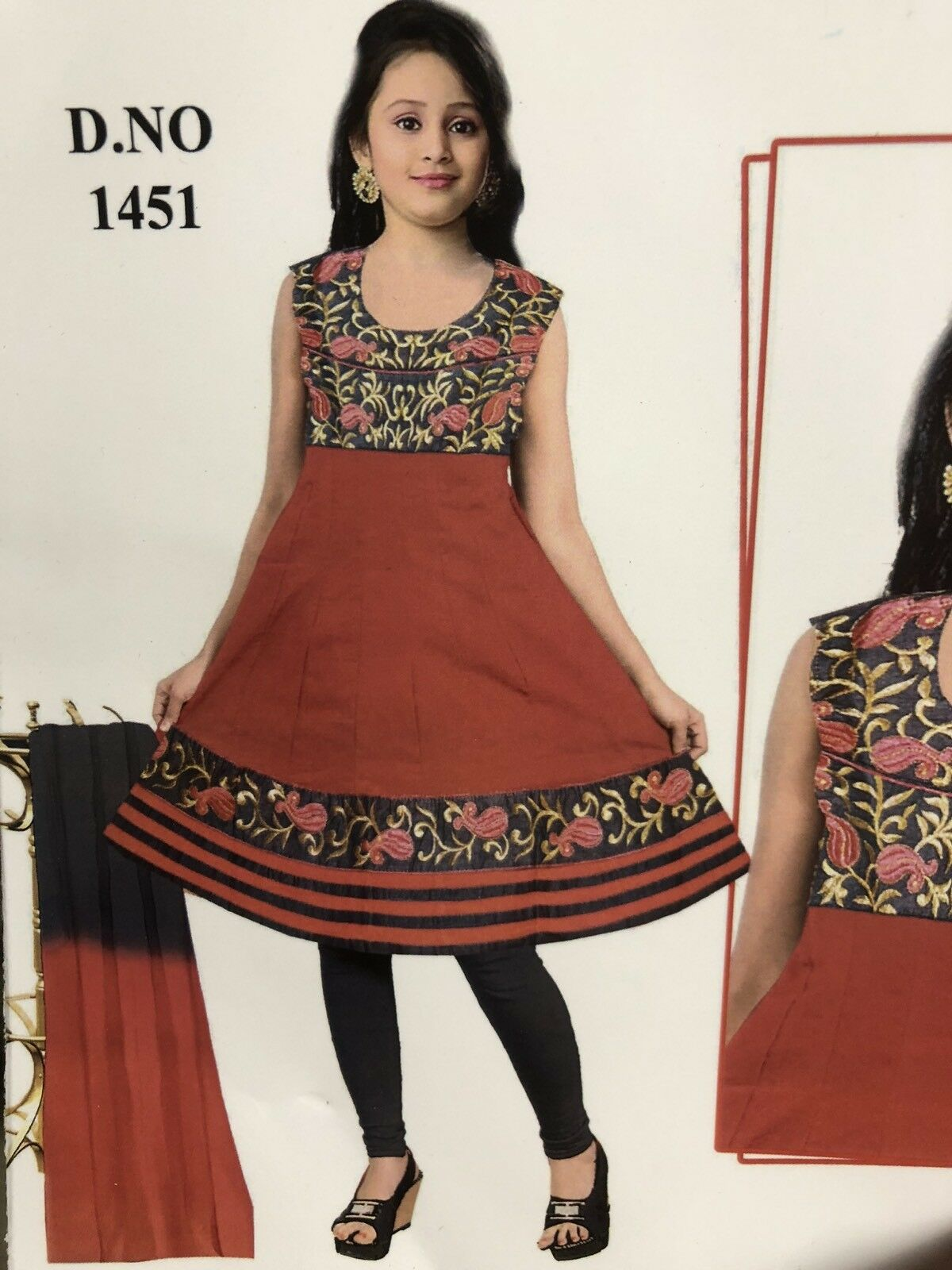 "34"" XS Kids Salwar Kameez Bollywood Indian Diwali Dress Cotton Red Grey gold HL3"