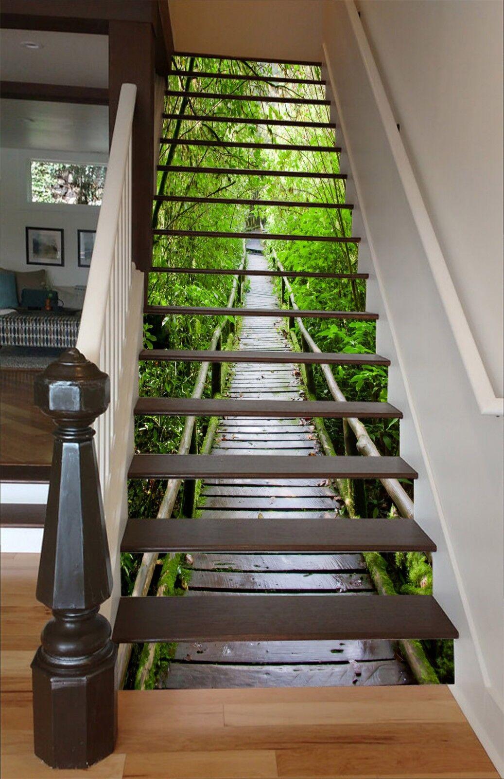 3D Trees Bridge 29 Stair Risers Decoration Photo Mural Vinyl Decal Wallpaper CA