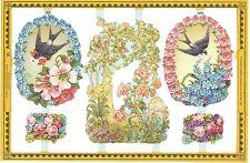 Chromo Le Suh Découpis Hirondelle Fleurs A93 Swallow and Flowers