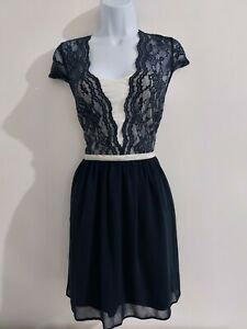 Womens-Asos-Dress-size-10-blue-cream-fit-amp-flare-lacey-formal-party-vgc