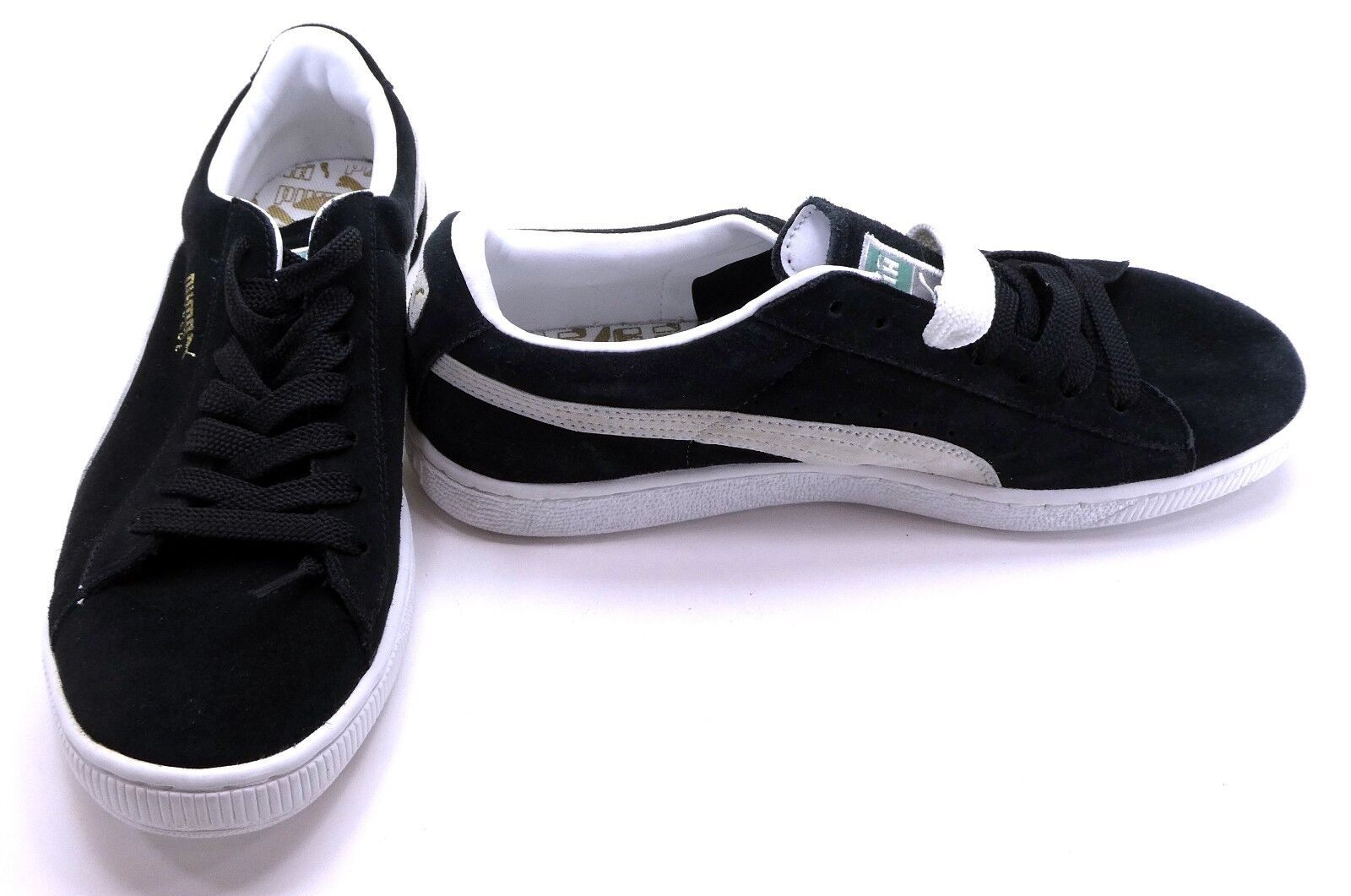 Puma Shoes Suede Athletic Black/Cream/White Sneakers Size 8.5