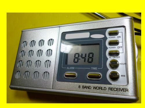 Weltempfänger//MW//FM Radio//Réveil//Horloge//Réveil de voyage//8 Volume Word receiver//avec Kopfh