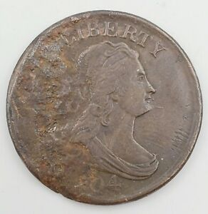 """1804 Spiked Chin Crosslet """"4"""" Draped Bust Half Cent 1/2c Copper Coin"""