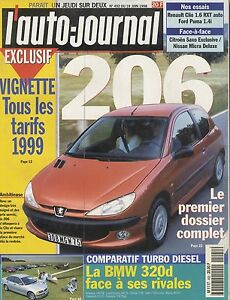 L-039-AUTO-JOURNAL-1998-n-492-Peugeot-206-BMW-320d-Renault-clio-Ford-Puma