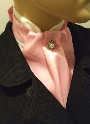 Bébé rose soyeux taffetas cravat jabot victorien steampunk regency bouton whitby
