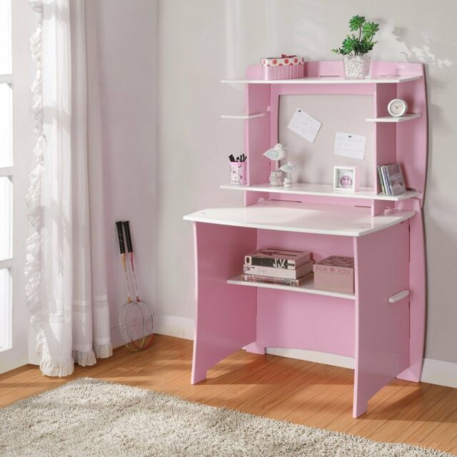 Desk With Hutch Pink And White