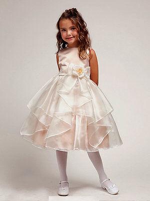 Flower Girl Dress Taupe Elegant Bridal Satin & Organza Girls Dress RRP: $98.90