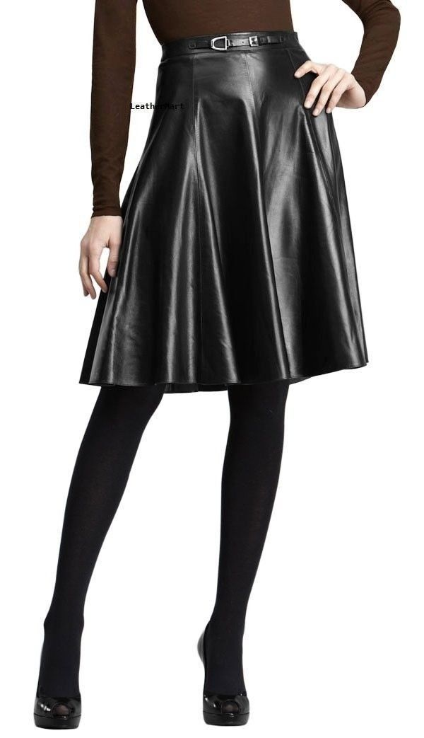 Womens Leather Skirt Real Lambskin Girls Club Party Wear Sexy Flare Skirt - 029