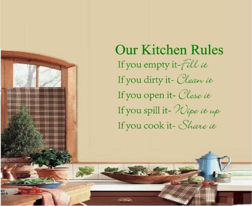 OUR KITCHEN RULES VINYL WALL QUOTE SAYING WORDS VINYL DECAL HOME KITCHEN DECOR
