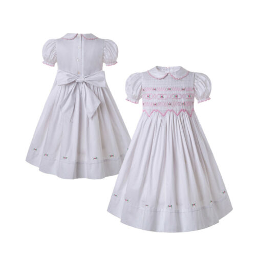 Embroidery Girl Smocked Dress White Communion Formal Party Summer Casual Dresses
