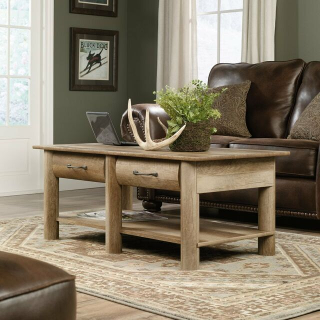 Admirable Sauder 416562 Boone Mountain Coffee Table With 2 Drawers In Craftsman Oak Finish Home Interior And Landscaping Pimpapssignezvosmurscom