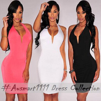 Backless Halter Mini Bodycon Deep V Neckline Casual Evening Clubwear Party Dress
