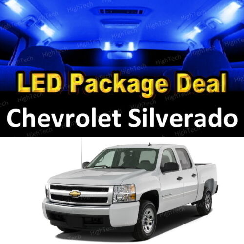 9x Blue LED Lights Interior Package Deal For 2007 Chevrolet Silverado