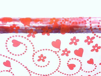VALENTINES CELLOPHANE WRAP RED SWIRLING HEARTS FLOWERS 1M 100 METERS