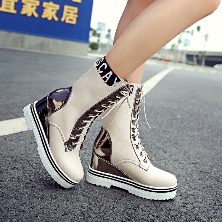 Women Hidden Wedge Heels Ankle Boots Platform Lace up Motorcycle Combat shoes