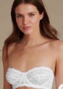 9941cd0830991 NEW MARKS SPENCER M S WHITE LACE NON-PADDED 5 WAYS STRAPLESS BALCONY ...