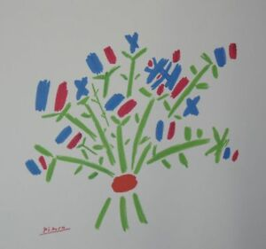 PABLO-PICASSO-PETIT-BOUQUET-SIGNED-AUTHENTIC-FRENCH-LITHOGRAPH-RARISSIMO-COA