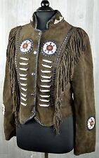 Real Leather Fringed Beaded Suede Western Indian Style Jacket Women's L Brown
