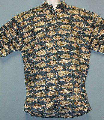 Kahala Marlins & Mahi Mahi Hawaiian Aloha Camp Shirt 100% Lawn Cotton Men's L
