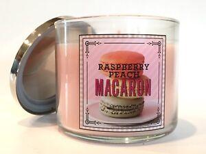 Raspberry Peach Macaron Bath /& Body Works 3 Wick Candle