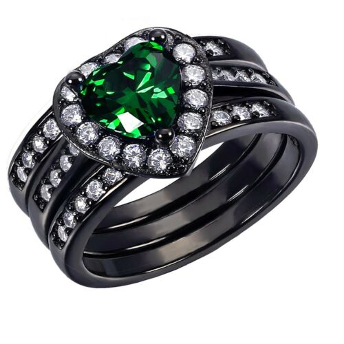 Heart Her Sterling Silver Created Emerald His Titanium Wedding Ring Band Set