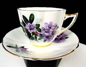 "SOCIETY ENGLAND CHINA LAVENDER FLORAL AND GOLD 2 3/4"" FLUTED CUP AND SAUCER"