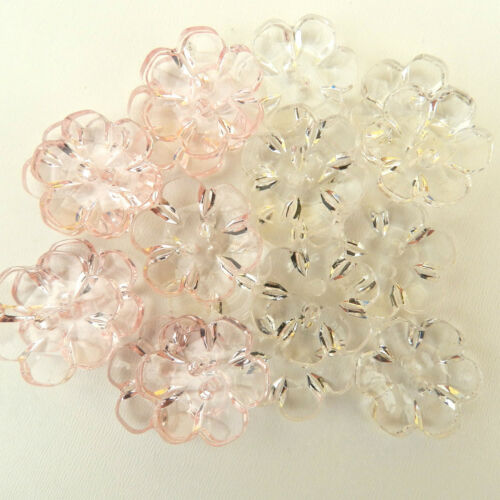 10 X Joli Clair Fleur Boutons-Rose ou transparent 13 mm 15 mm 18 Mm ou 22 mm 2 trous