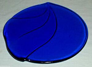 Cobalt-Blue-Glass-Plate-Salad-Dessert-Trumpet-Flower-Abstract-Leaf-7-75-034