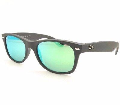 0fe9269c5f961 Ray Ban New Wayfarer 2132 622 19 55mm Matte Black Rubber Green Mirror  Authentic