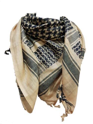 100/% Cotton Arab Military Shemagh Headscarf Keffiyeh Veil Khaki /& black beige