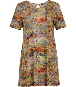 new product 2e6b9 1be0d Details zu Aprico Damen Kleid Gelb Bunt knielang kurzarm große Größen  A-Linie