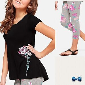 """NWT JUSTICE Girls 8 10 12 /""""FIRST STOP PARIS/"""" Swingy Tee /& Print Leggings Outfit"""