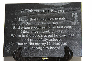 Fisherman-039-s-Prayer-5-034-x7-034-black-marble-plaque-laser-engraved-fishing-in-stream