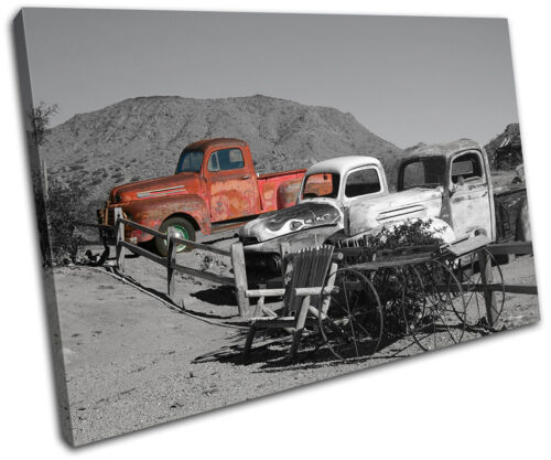 Decayed Car Red Urban SINGLE CANVAS WALL ART Picture Print VA