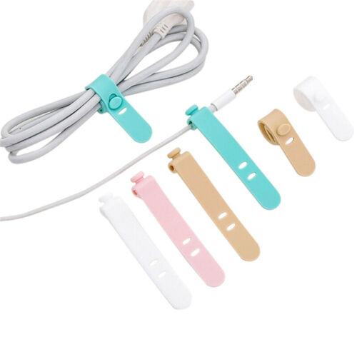 Silicone Data Cable Organizer Headphone Cord Finishing Buckle Wrap Tie StrVG