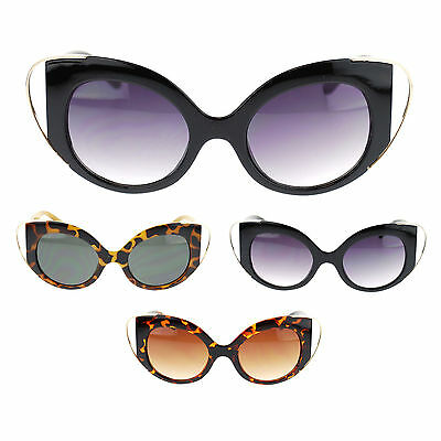 Womens Unique Metal Wire Tip Goth Fashion Plastic Cat Eye Vogue Chic Sunglasses