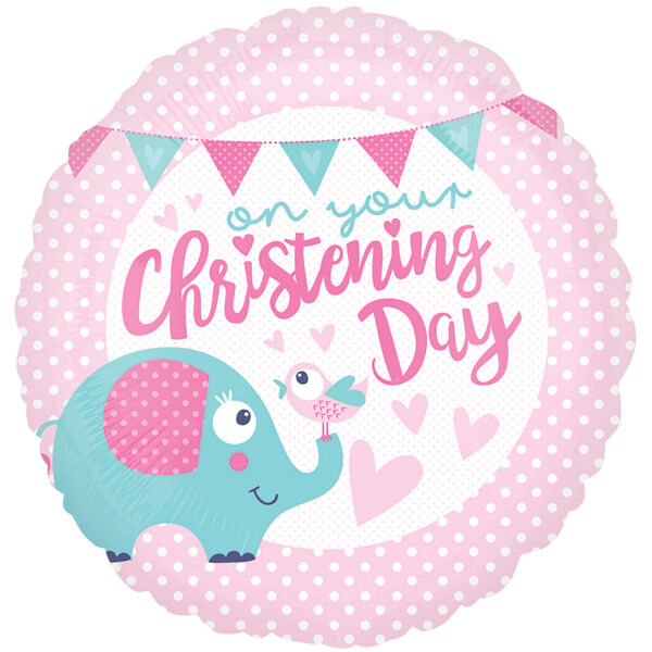 """18"""" CHRISTENING DAY  PINK GIRL PARTY CUTE ELEPHANT FOIL HELIUM BALLOON 35712"""