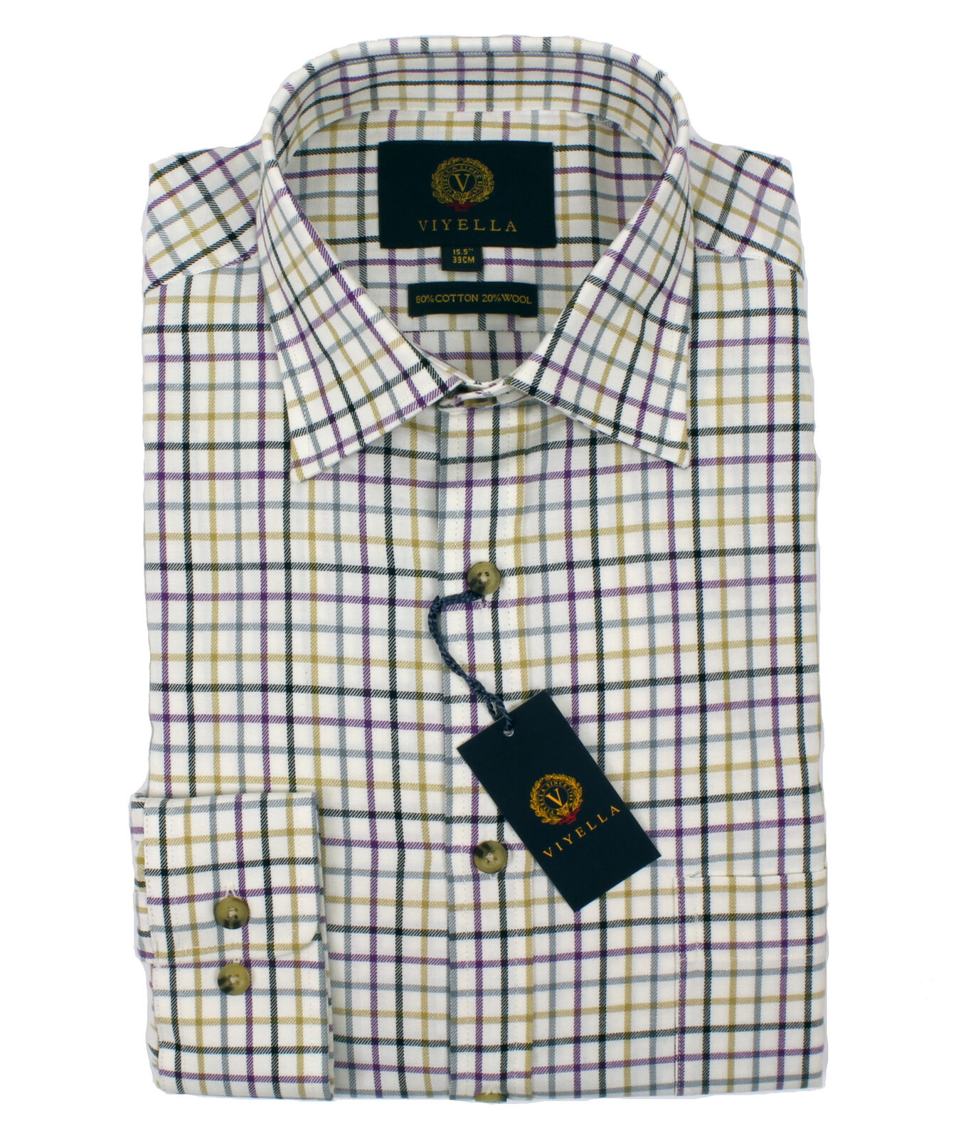 Viyella Tattersall 80 20 Cotton Wool Blend Shirt in Heather
