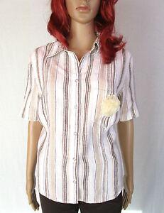 Canda Womens Shirt Linen amp;a Sz Short Vtg Design C Sleeve 90s Casual 20 Stripe Ao9 qqTwaUZn