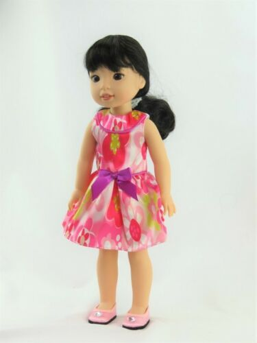 Floral Sleeveless Dress Fits Wellie Wishers 14.5 American Girl Clothes