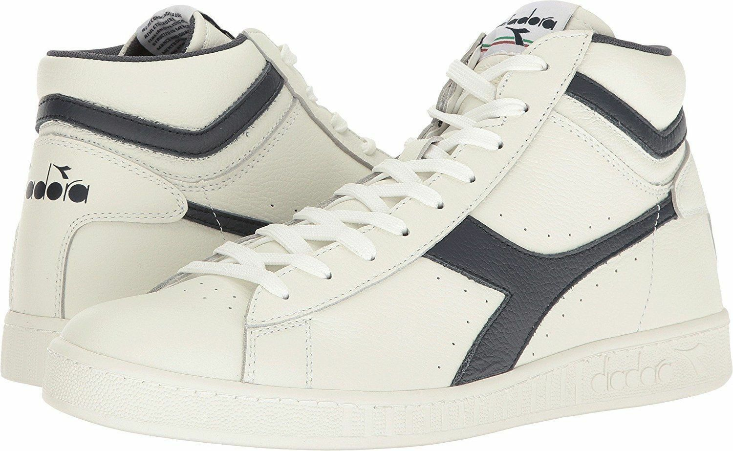 Diadora Unisex Game L High Waxed White Dress bluees White 7.5 Women  6 Men US