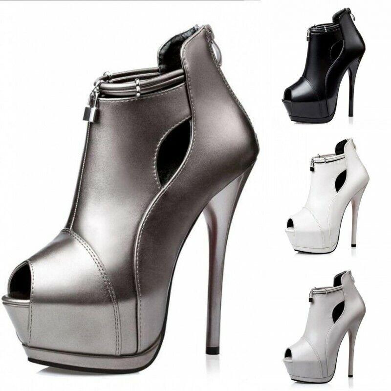 Damen Stilettos Peeptoe High Pumps Clubwear Hohl Schoes Reißverschluss Gr.34-39