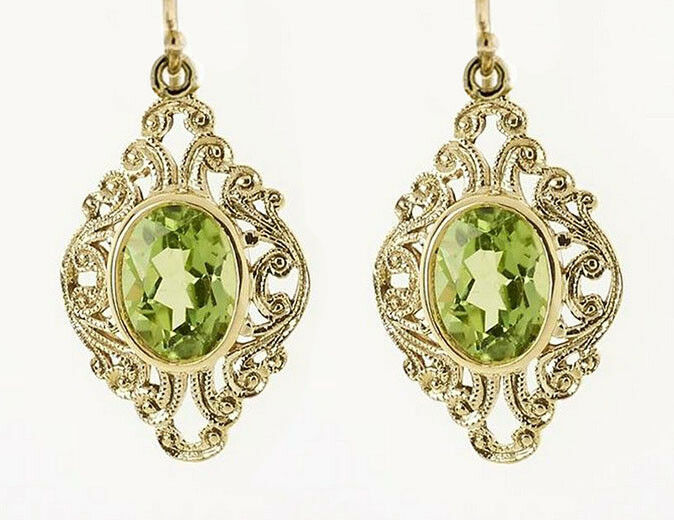 Ornate 9ct Solid Yellow gold LARGE Natural oval Peridot Filigree Drop Earrings
