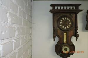 Antique-French-Black-Forest-WALL-CLOCK-Weather-Station-BAROMETER-THERMOMETER