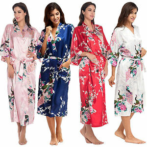 damen seide kimono robe lang gown hochzeit braut bademantel morgenmantel dessous ebay. Black Bedroom Furniture Sets. Home Design Ideas