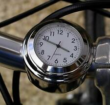 "MEGA-QUARTZ MOTORCYCLE HANDLEBAR BIKE CLOCK fits any 7/8"" TO 1"" bar white dial"