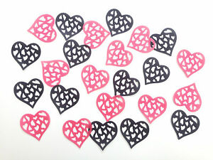 24-Edible-Large-Hot-Pink-Black-Hearts-Pre-Cut-Wafer-Cupcake-Toppers