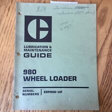 Cat Caterpillar 980 Lube Amp Maintenance Manual Guide Wheel Loader Sn 89p906 Amp Up