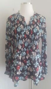 Lane-Bryant-Womens-Smocked-Front-Top-Black-Modern-Floral-Plus-Size-3X-22-24-NWT