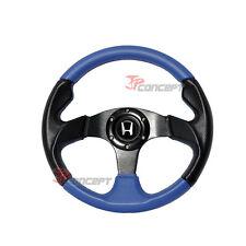320mm JDM Steering Wheel Black PVC & Blue Stitching 2 Tones w/Silver H Emblem